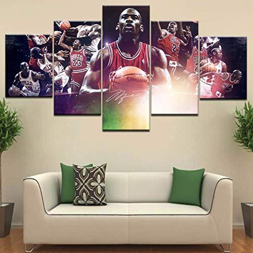 TytlPrints Basketball Star Hd Leinwand Malerei Michael 5 Panel,Jordan Bild Wandkunst Poster Für Wohnzimmer Dekoration Rahmen Kunstwerk