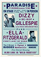 ポスター デニース ローレン Dizzy Gillespie and Ella Fitzgerald at Paradise 1947 額装品 アルミ製ハイグレードフレーム(ホワイト)