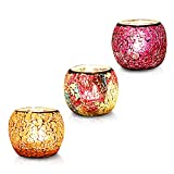 AMENER 3 Pack Glass Votive Candle Holders Votive Candles and Tealight Set of 3, Bowl Tea Night Light Holders Handmade Artwork Gifts for Home Decor/Party Decorations
