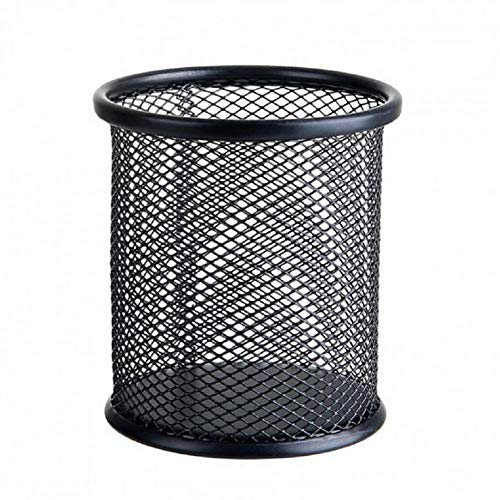 BIGBOBA 1pcs Metal Malla de Alambre Titular de la Pluma lápiz Copa Pen Pot Container Organizador Organizador de Escritorio Cesta de almacenaje pequeña 10 * 8cm Negro, Metal