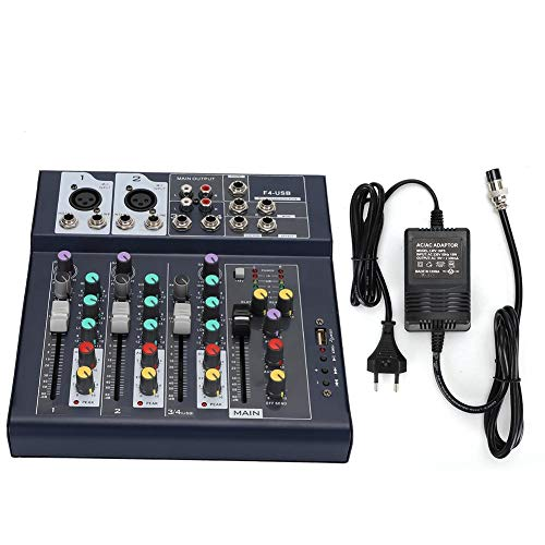 USB Stage Powered Mixers, 4-kanaals F4-USB Stage Performance Karaoke Live Stage Mixer, 5-segment LED LED Main Level Meter Stage Stereo Equalizer Live Gigs Mixer(EU)