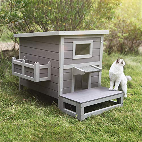 GUTINNEEN Outdoor Cat House Kitty House with Escape Door, Cat Shelter Weatherproof, Outside Feral Cat Cage