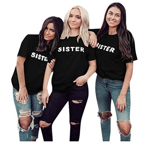 Damen Bluse,TEBAISE 2020 Damen Sommer BF T-Shirts Best Friends T-Shirt Sister Shirt Sehr Schöne T-Shirts Lustige Kurzarm Oberteil Gute Qualität für Mädchen Schwarz Rot Weiß S-3XL