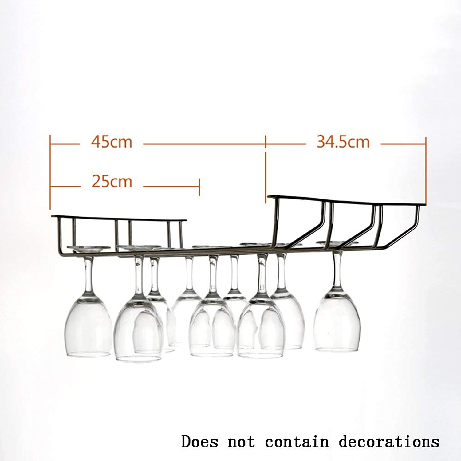 Red Wine Shelf Stainless Steel Material Wine Racks Hanging Wine Cup Holder Goblets Rack,Creative bar Living Room Household Decorations Pendant -Wine Rack (Size   Length 45cm) (Size   Length 45cm)