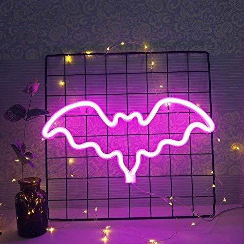 Neonlicht Fledermaus Zeichen Wanddekor led Nacht LED Licht für Mädchen Geburtstag Raumdekoration Party Dekorative Rosa Pink 35,5 * 18 * 2 cm)