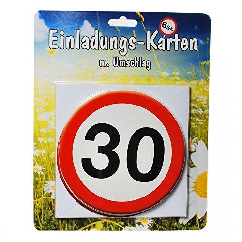 Udo Schmidt GmbH & Co 30. Geburtstag Einladungs-Karten mit Umschlag 6 Stück Weiss-rot 14cm Einheitsgröße