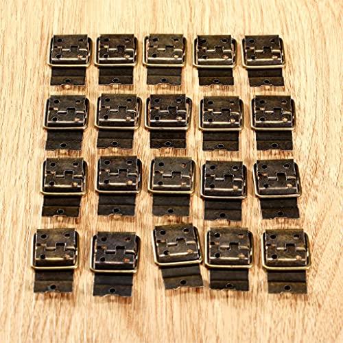 XZJJZ 20pcs Hinges de Hierro Bronce Antiguo 38 * 21 mm Anillo Incluso Puerta de bisagra Joyería Retro Caja de joyería Muebles Muebles Accesorios de Hardware Tornillos