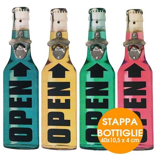 Stappa Bottiglie Apribottiglie a Muro in Legno e Metallo 40 x 10,5 x 4 cm Vari Colori