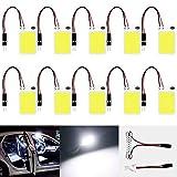 ALOPEE- 10-Pack White 150Lums COB 18-SMD 12V DC LED Light per Auto Car Interior Lighting Panel Cupola Lampada Mappa Tetto Plafoniera Lampadina con 10 X T10, Festoon Adapter