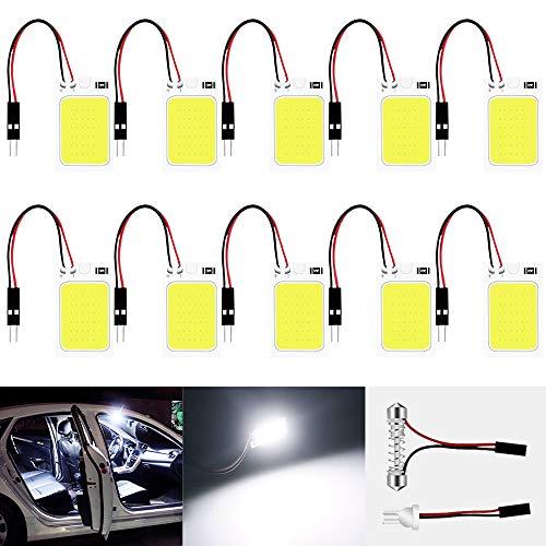 10-Pack Blanco 150Lums COB 18-SMD 12V DC Luz LED para Auto Interior del Automóvil Panel de Iluminación Indicador de Techo Lámpara de Techo Lámpara de Techo con 10 X T10, Adaptador de Festón