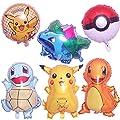 Cumpleaños Pokemon - 6 Piezas Globo Pokémon Helium Foil Balloons Pokemon Pikachu Globos de Fiesta Aluminio Globo Suministros de Fiesta por WENTS