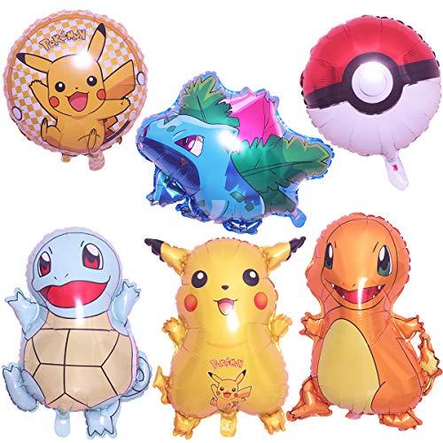 Cumpleaños Pokemon - 6 Piezas Globo Pokémon Helium Foil Balloons Pokemon Pikachu Globos de Fiesta Aluminio Globo Suministros de Fiesta