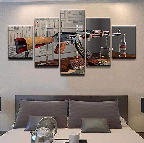 Imagen De 5 Armas Ak-47 Cartel Impreso Arte 100 * 50 Cm Sin Marco