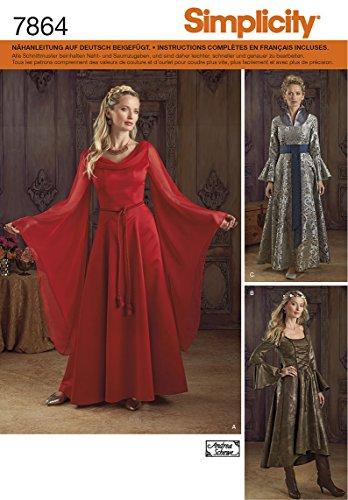 Burda Simplicity s7864. RR Schnittmuster Kleid Fantasy Damen Papier weiß 21x 15cm