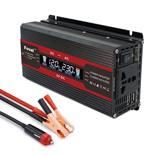 Power Inverter 1500W DC 12V to AC 220V with 5 USB Port 2 AC Universal socket LCD display Voltage Converter with Cigarette Lighter Adapter in Car and Crocodile Clip