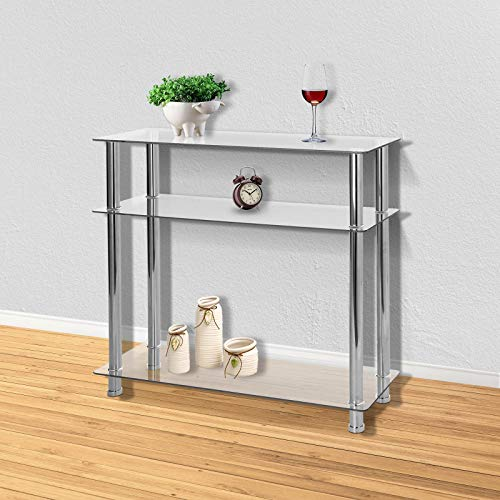 MorNon 3-Tier Glass Table, Modern Tempered Glass Coffee Table with Mental Chrome Rounded Legs, Modern Hallway Table for Diningroom & Livingroom Home