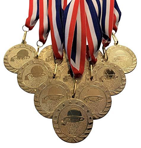 Express Medals Trofeo Medalla de Baloncesto con 1er Lugar. Paquete de 10 Grandes 5.08 cm de Oro.
