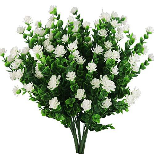 Houda 4 Ramas de arbustos Artificiales de eucalipto con Flores de plástico para el Aliento del bebé, Color Blanco, para la casa, Oficina, jardín, Patio, decoración al Aire Libre