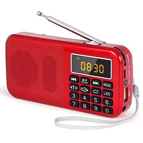 PRUNUS J-725 Radio FM SD USB MP3 Portátil con Reloj Despertador, Recargable Batería de Gran Capacidad (3000mAh,reproducciones largas 30 Horas) con Linterna de Emergencia(Rojo)