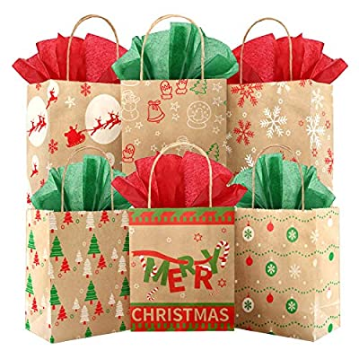 """Kidtion 30 PCS Christmas Bags for Gift with Tissue Paper, 6 Styles Gift Bags Bulk with Handles, 7.5""""x9""""x3.5"""" Larger Craft Bags, Reusable Xmas Paper Bags & Goody Bags, Party Bags, Favor Bags"""