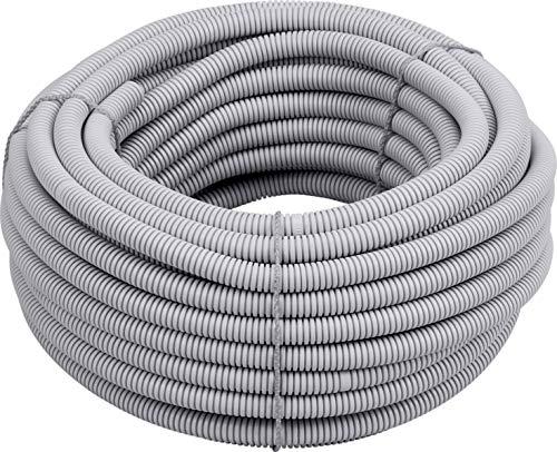 Meister Isolierrohr flexible Ausführung - 25 Meter - lichtgrau - 320 N (leicht) - M16 Gewinde - Flammwidrig - Geeignet für Unterputz & Hohlwände / Wellrohr / Leerrohr / Schutzrohr / 7480560