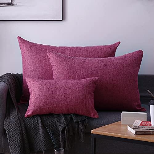 CNYG Almohadas estilo nórdico lino espesar cojín decorativo cuadrado almohada con almohada para sofá sala sofá cama rojo 50x70cm