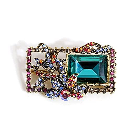 RWJFH Broche Broches de Cristal Vintage para Mujer, Pin de Estilo Cuadrado, joyería de Moda Retro,Accesoriosgeométricos deotoño, Regalo