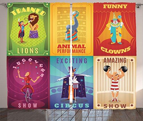 Ambesonne Circus Curtains, Festive Elements Clown Elephant...