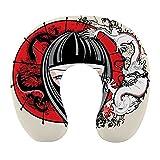 CIKYOWAY Almohada Viaje,Ilustración Japonesa Chica Geisha,Espuma de Memoria cojín de Cuello,Almohadas de Acampada,Soporte de Cuello para Viaje Coche