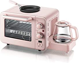 JINJN Retro 3-in-1 Family Size Breakfast Center, Pink Breakfast Station Toaster Oven,coffeemaker and Griddle