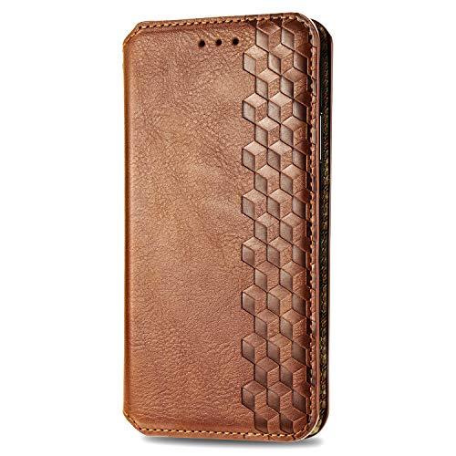 VGANA Tasche Hülle für Moto Motorola G8 Power Lite, Brieftasche Handyhülle Retro Muster mit Magnetverschluss & Ständer Funktion Schutzhülle. Brown