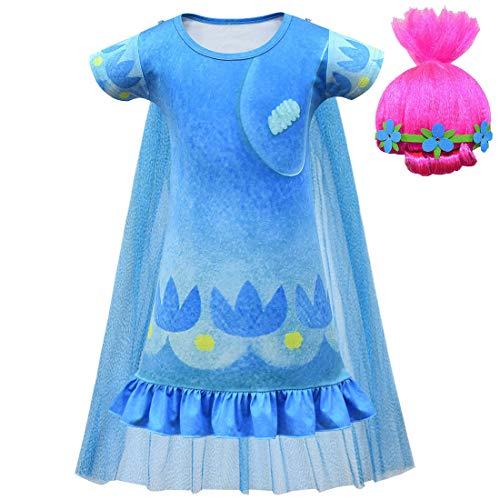 Kinder Mädchen Trolls Prinzessin 2 Poppy Kostüm Lustiges Nachthemd mit Umhang Perücke Gr. 4-5 Jahre, Stil 1