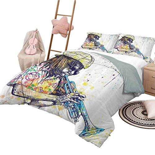 Bettwäsche Bettbezug Set Jazz Music Decor Waschbare Bettbezug Set Illustration von Trompeter mit Farbspritzern im Hintergrund Entertainment Art Purple Yellow Full Size