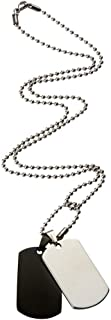 Bevilles Stainless Steel 2 Tone Men's Dog Tag Necklace D1049J-39X33M Ball Chain