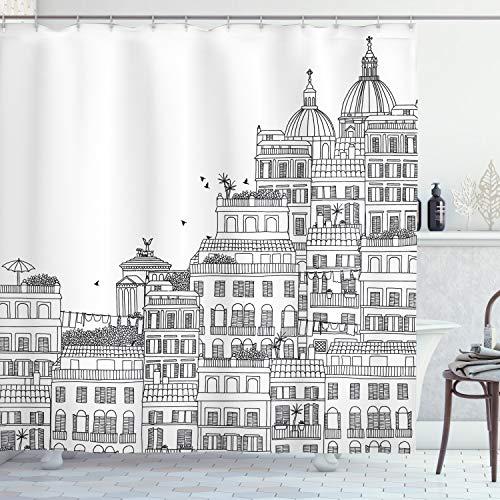 "Ambesonne European Shower Curtain, Hand Drawn Italian Town Buildings Cityscape Famous Urban Houses Design, Cloth Fabric Bathroom Decor Set with Hooks, 75"" Long, Grey Black"