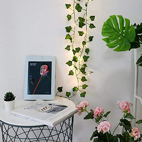 ODM Green Leaf Rattan Artificial Ivy Garland Fake Leaf Plants Vine Garland String Light 2 Meters 20 LEDs USB Powered Wedding Party Christmas Holiday Patio Decoration
