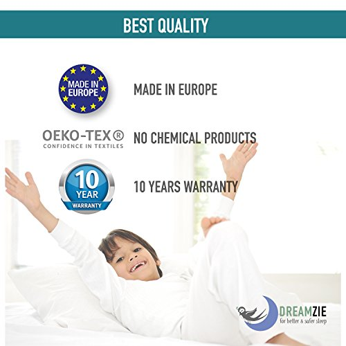 Dreamzie - Pack of 2 Pillow Protector (50 x 75 cm / 20 x 31) Waterproof with Zipper - White Fabric 100% Cotton Oeko Tex® - Breathable, Hypoallergenic, Anti-Dust Mite, Anti-Bacterial