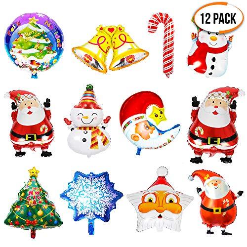 Folienballons mit Weihnachtsmotiven - 12er Pack sortierte Designs - Weihnachtsbaum, Stern, Nikolaus, Schneemann, Schneeflocke und Glocke - Partyausstattung, Kinder Partyrequisiten und Dekorationen