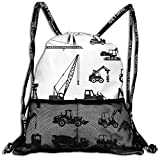 AZXGGV Drawstring Backpack Rucksack Shoulder Bags Gym Bag Sport Bag,Black Silhouettes Concrete Mixer Machines Industrial Set Trucks Tractors