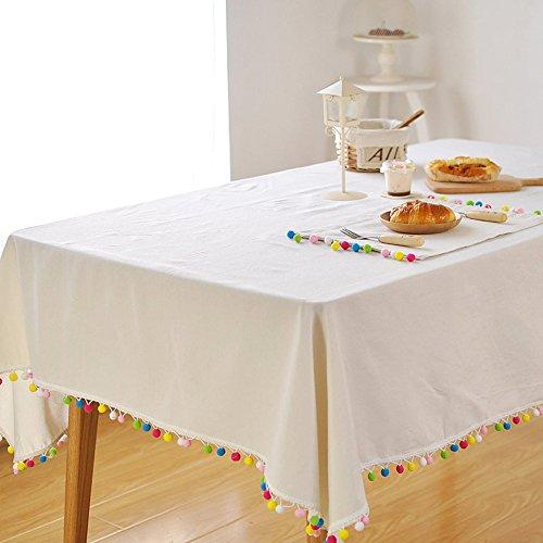 Tong Yue coloré Balles Pompon Nappe couvertures Blanc en coton et lin Décoration Nappe, Tissu, blanc, 140*180cm