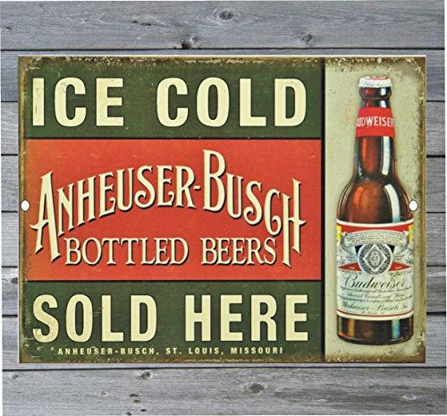 43LenaJon Vintage Retro Reproductie Metalen Tin Teken IJskoud Anheuser Bush Budweiser Bier Verkocht Hier