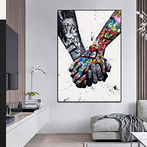 MJKLU Moda Graffiti Patrón Tomados de la Mano Pareja Amor Calle Arte Pop Lienzo Pintura Arte de la Pared Póster Impresiones Dormitorio de niño Sala de Estar Club Estudio Decoración del hogar