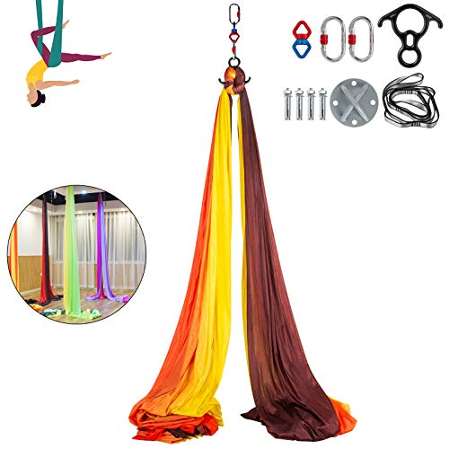 Bkisy Aerial Silk, 11yd 9.2ft Aerial Yoga Swing Set Yoga Hammock Kit - Antigravity Ceiling Hanging Yoga Sling - Carabiners, Daisy Chain, Inversion Swing for Home Outdoor Aerial Dance, Red & Yellow
