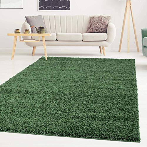 ayshaggy Shaggy Teppich Hochflor Langflor Einfarbig Uni Grün Weich Flauschig Wohnzimmer, Größe: Läufer 80 x 150 cm
