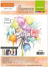Vaessen Creative Florence Hot Pressed Watercolour Paper A4, Ivory, 200 GSM, Artist Grade Quality, Smooth Surface, 12 Sheet...
