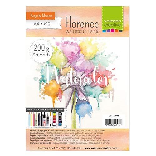 Vaessen Creative 2911-2003 Florence Aquarellpapier A4 in Elfenbein Weiß, aus 200 g/m² Glattem Papier, 12 Blatt für Aquarellmalerei, Handlettering und Brush Lettering