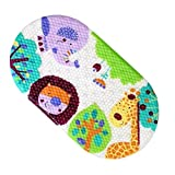JameStyle26 Badewannematte Cartoon Tier Motiv PVC Wanneneinlage Matte Antirutsch mit Saugnäpfen Duschmatte Badteppich Kinder Kids Baby Eule Motiv (Grün - Löwe Giraffe)