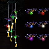 BACASIN Butterfly Color-Changing led String Lights Outdoor Solar Wind Chimes, Good Gifts for mom and Grandmother, Butterfly Decoration, Unique Wind Chimes, Outdoor Terrace Decoration