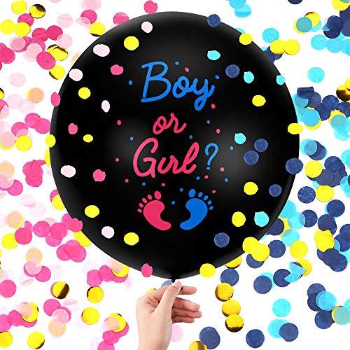 Gender Reveal Palloncino,Gender Reveal Party Decorazione,Benvenuto Neonato Party Kit,Palloncino Boy or Girl,Palloncino per Annunciare Il Sesso Del Ragazzo o Ragazza,Palloncini Coriandoli Rosa Blu