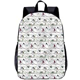 Kitten 17' School Backpack,Cats with Yarn Balls Students Backpack for Kids Adults